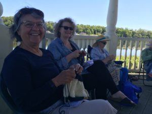 "With new friends on ""Knit in Public Day"" in Mahone Bay"