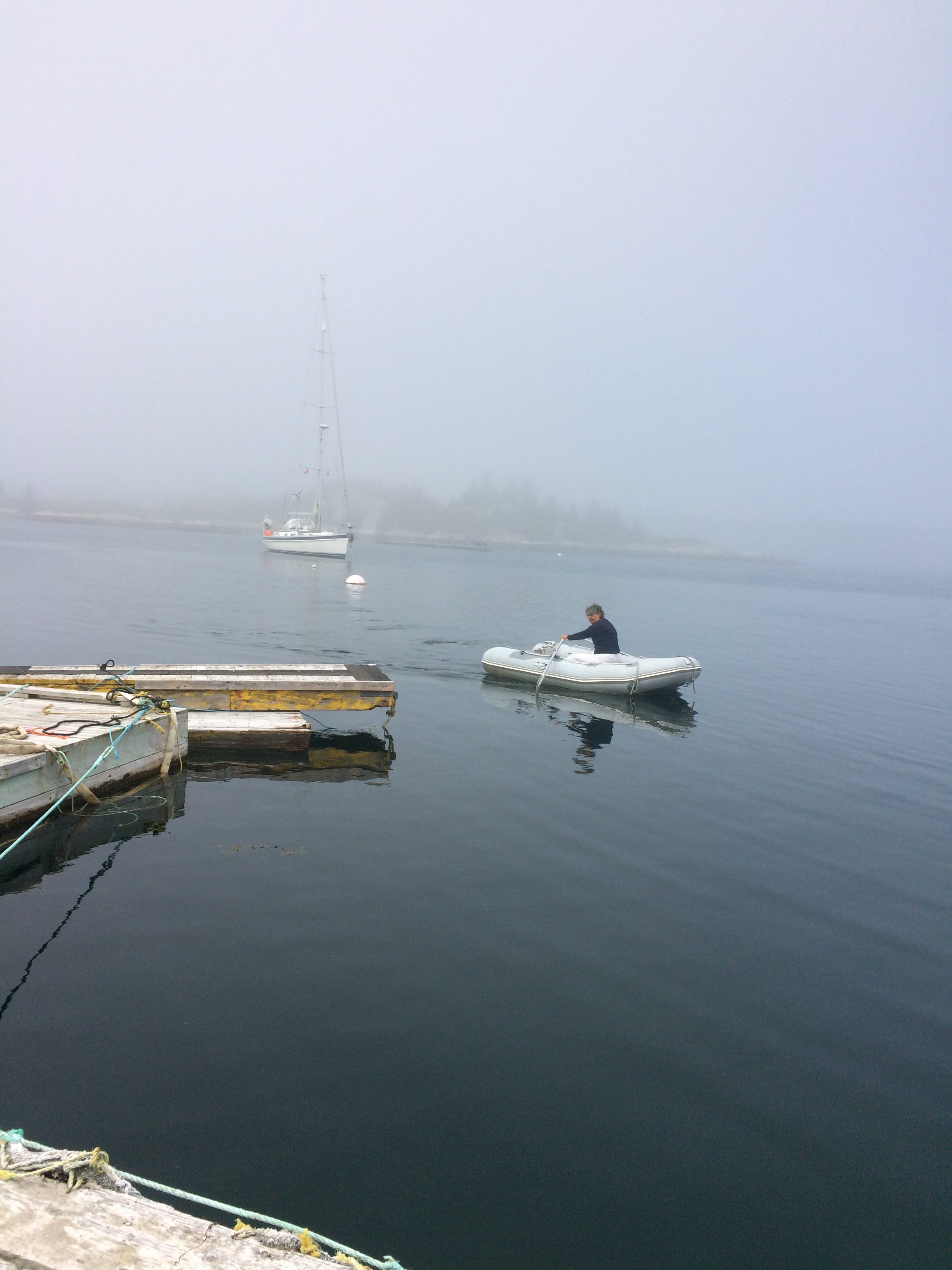Foggy row to shore at West Dover