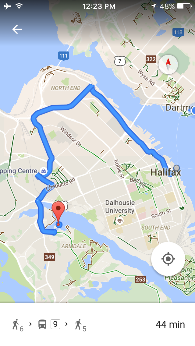 Bike route from mooring to downtown Halifax